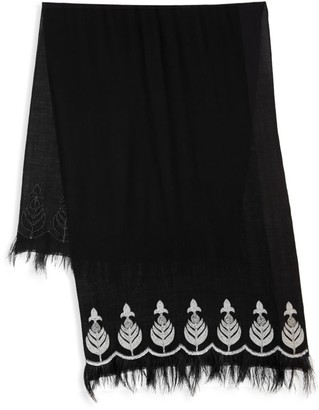 Janavi Pearl Leaf and Feather Border Cashmere Scarf