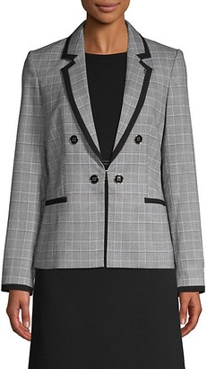 Tommy Hilfiger Plaid Notched Lapel Blazer