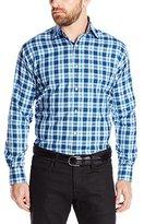 Thomas Dean Men's 2 Button SPRD Collar Textured Check