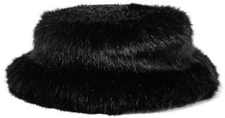 EMMA BREWIN Faux Fur Bucket Hat - Black