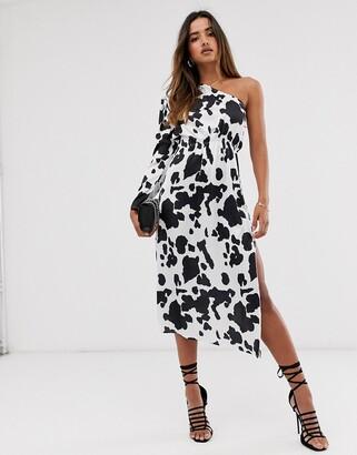 UNIQUE21 one shoulder abstract cow print dress