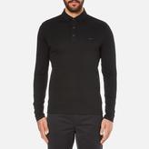 Michael Kors Men's Long Sleeve Sleek Polo Top Black