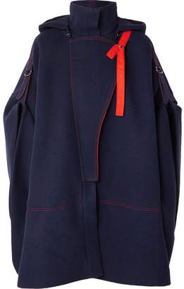 Chloé Two-tone Wool-blend Cape - Navy