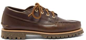 Yuketen Angler Lace-up Leather Moccasins - Mens - Brown