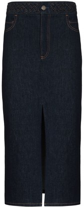 Chloé Braided-Waistband Midi Denim Skirt