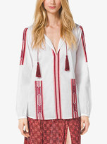 Michael Kors Embroidered Voile Shirt Petite