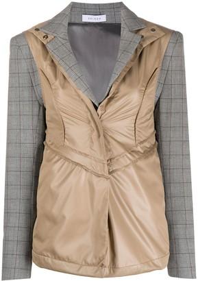 Delada Contrast-Panel Check Blazer