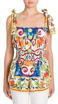 Dolce & Gabbana Tile Print Smocked Cotton Top
