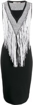 D-Exterior D.Exterior fringed neckline dress
