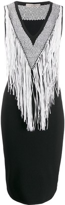 D-Exterior Fringed Neckline Dress
