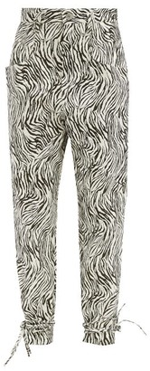 Isabel Marant Badeloisa High-rise Zebra-print Leather Trousers - White Black