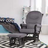 Dutailier Dark Grey Multiposition Reclining Sleigh Glider and Nursing Ottoman Set