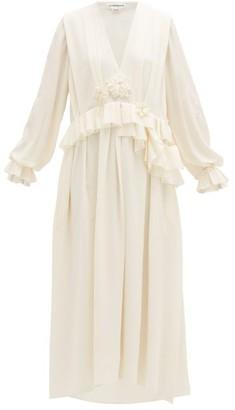 Victoria Beckham Floral-corsage Pleated-peplum Georgette Dress - Cream