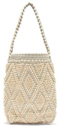Antonello Tedde Linen And Cotton Diamond-weave Tote Bag - Womens - Blue Multi