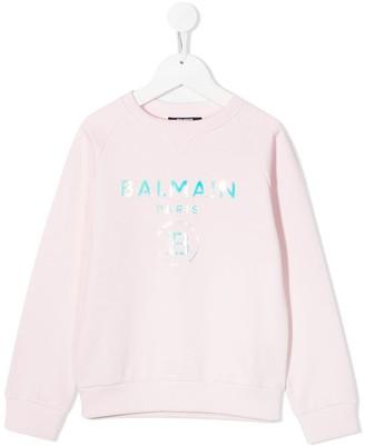 Balmain Kids Mirrored Logo Sweatshirt