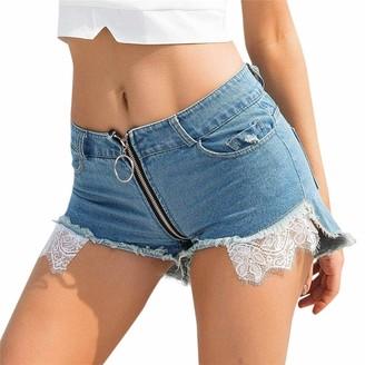 SSMENG Women's Casual Denim Shorts Frayed Raw Hem Ripped Jeans Shorts Lace Trim Zipper Pockets High Waist Shorts Jeans Blue