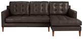 John Lewis Draper RHF Chaise End Leather Sofa, Dark Leg