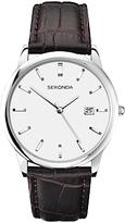 Sekonda 1010.27 Date Leather Strap Watch, Brown/white