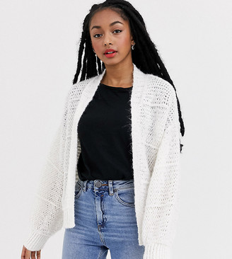 Asos DESIGN Petite cardigan in lofty stitch-White