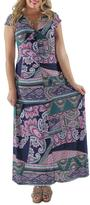 24/7 Comfort Apparel Plus Size Paisley Maxi Dress