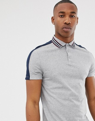 ASOS DESIGN polo shirt with contrast shoulder panels and collar taping in gray