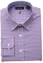 Nautica Men's Classic Fit Performance Gingham Spread Collar Dress Shirt, Purple