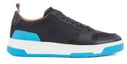 HUGO BOSS Low Top Sneakers With Coordinating Heel And Sole - Dark Grey