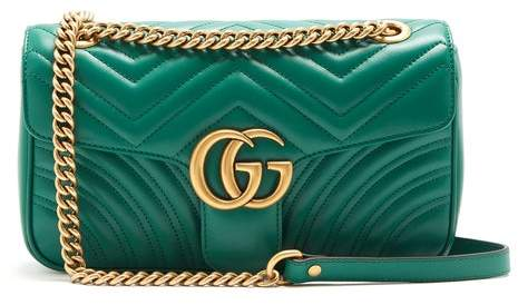 Gucci Gg Marmont Quilted Leather Shoulder Bag - Womens - Green