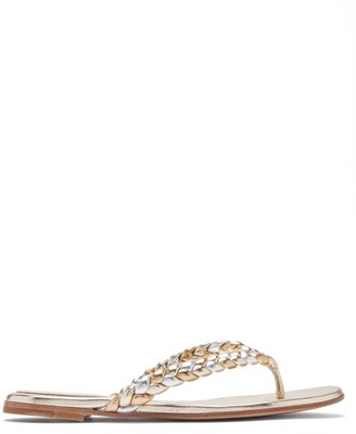 Gianvito Rossi Tropea Braided Metallic-leather Sandals - Gold Silver