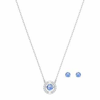 Swarovski Sparkling Dance Round Jewellery Set - Women's Necklace and Earring Pair with White and blue Crystals in a Rhodium Plating