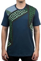 Versace Men's Cotton Geometric Pattern Crew Neck T-shirt Aqua.