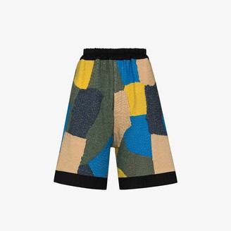 By Walid Silas knitted patchwork shorts