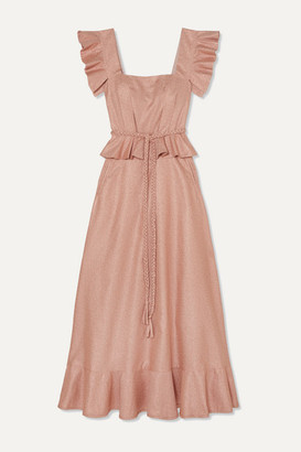 Anna Mason - Goldie Ruffled Metallic Crepe Maxi Dress - Blush