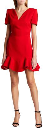 Alexander McQueen Wool-Blend Ruffle Mini Dress