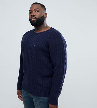 French Connection PLUS 100% Cotton Logo Cable Knit Jumper-Navy