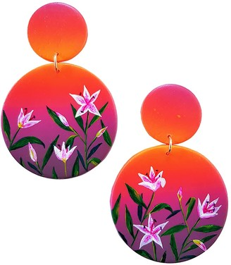 Emily Laura Designs Sunset Lily Clip On Large Drop Earrings