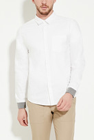 Forever 21 Ribbed Cuff Cotton Pocket Shirt