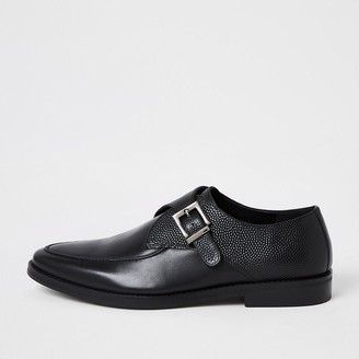 River Island Black leather textured monk strap shoes