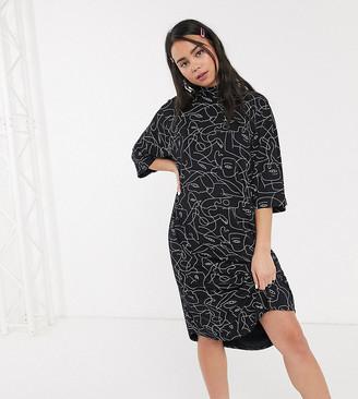 Monki Fey face print jersey t-shirt dress in black