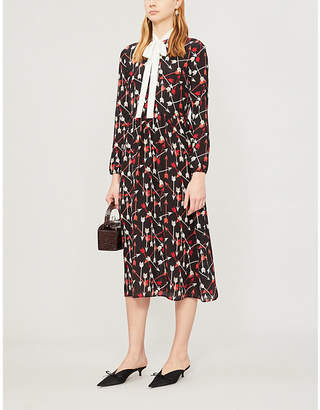RED Valentino Dart-print long-sleeved silk-crepe dress