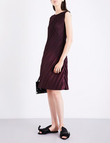 Issey Miyake Ladies Bordeaux Pleated Slant Dress
