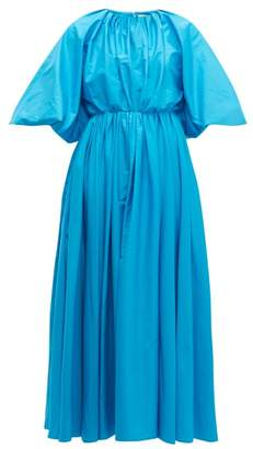 Roksanda Medeya Bubble Sleeve Cotton Maxi Dress - Womens - Blue