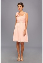 Adrianna Papell Irri Chiffon Rosette Shoulder Short Dress (Bridesmaid)