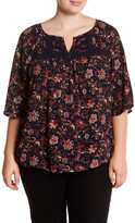 Gibson Crochet Lace Knit Trim Print Woven Blouse (Plus Size)
