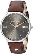 Maurice Lacroix Men's 'Eliros' Quartz Stainless Steel and Leather Casual Watch, Color:Brown (Model: EL1118-SS001-311-1)