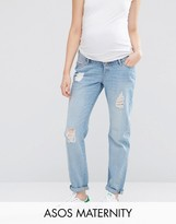 Asos Brady Boyfriend Jeans In Hiro Wash With Over The Bump Waistband