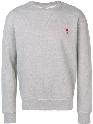 Ami crew neck Sweatshirt With Red De Coeur Patch