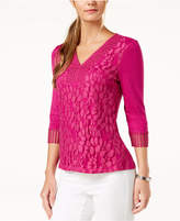 NY Collection Petite Lace-Front Crochet-Trim Top