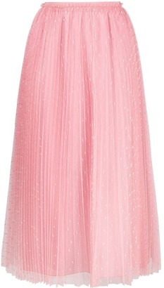 RED Valentino Point D'esprit Pleated Midi-Skirt