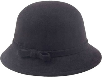 Leisial Women's Woolen Fedora Bowler Hat with Bow Tie Warm Hat Caps Black
